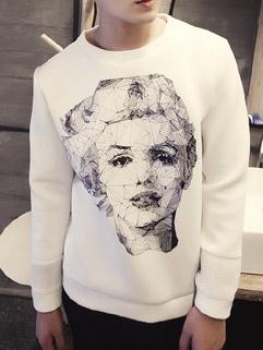 Personality Design Long Sleeve Solid Color Figure Print Men's Hoodies