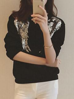 Korean Style Trendy Sequined Embellished Long Sleeve Pullover Hoodies