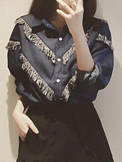 Korean Personality Fringed Long Sleeve Blue Lapel Denim Blouse