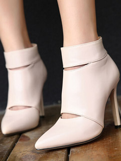 High-end Solid Color Pointed-toe Zippered Lady Women Ankle Boot