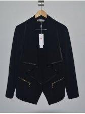 European Street Cool Girl Modern Asymmetrical Cardigan Pure Color Lapel Vintage Slim Short Coat