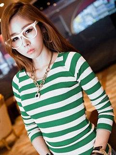 Korean Hot Girl Stripes Two Colors U-Collar Long Sleeve Modal Cozy T-Shirt