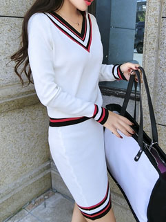 New Arrival Women Korean Style Fashion V Neck Two Pieces Dress