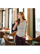 2015 Sexy Style U-Collar Off Shoulder Color Block Striped Slim Cozy T-Shirt