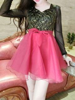 New Arrival Women Korean Style Lovely Spliced Fluffy Long Sleeve Dress
