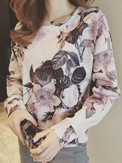 Korean Fall Women Floral Printing Round Neck Long Sleeve Vintage Hoodies