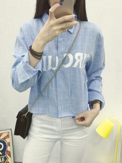 College Korean Style Women Letter Printing Long Sleeve Turndown Neck Blouse