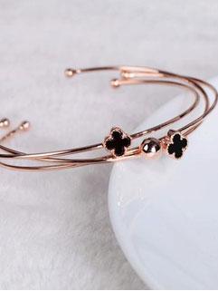 Korean Style Four Leaf Clover Golden Bracelet For Woman