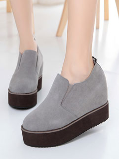 Solid Color Round Toe Genuine Leather Wedge Shoes For Woman
