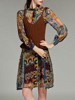 Fashion Design V-neck Knitted Cami Top Vintage Print Sheer Dress
