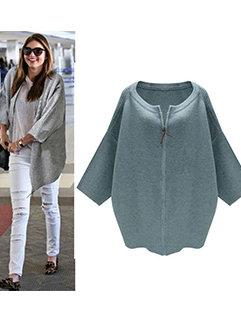 New Fashion Simple Design Women Three-quarter Sleeve Zipper Loose Sweater