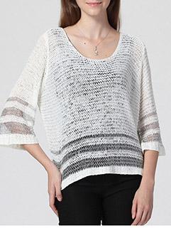 Plus Size Women Striped Crew Neck Three-quarter Sleeve White Sweater
