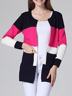 Hot Selling Korean Design Women Long Sleeve Striped Loose Cardigan Sweater