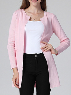 Korean Hot Fashion Women Long Sleeve Solid Color MD-Long Knitting Sweater