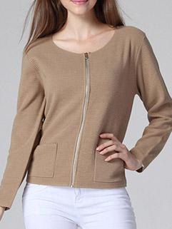 Fall Simple Design Women Long Sleeve Zipper Up Crew Neck Pockets Sweater