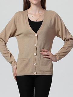 Korean Loose Women Long Sleeve Single-breasted Pockets Brown Sweater