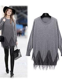 Wholesale Pretty Women Long Sleeve Blank Pullover Above Hip Tassel Sweater Dress
