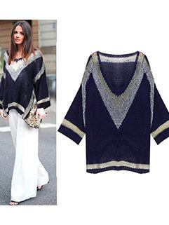 Wholesale Trendy Women Bat Sleeve V Neck Loose Long Sleeve Sweater