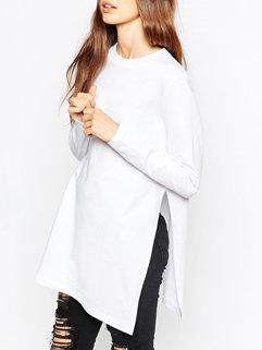 New Arrival Side Slit Long Sleeve Baggy Hoodie White Hoodie For Woman