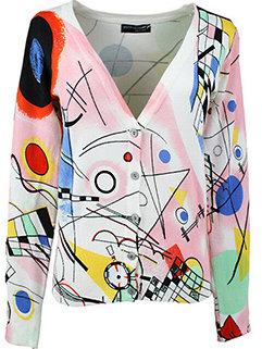 Korea Style Cute Wholesale Women Geometric Print Resort Fall Cardigan Sweater