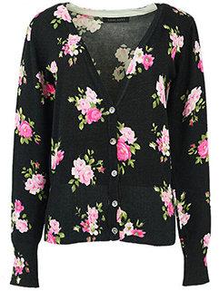 Funny Trendy Women Floral Printed Resort Pullover Deep V Neck Sweater