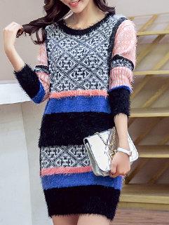 2015 Winter Vintage Print Contrast Color Slim Fit Sweater Dress