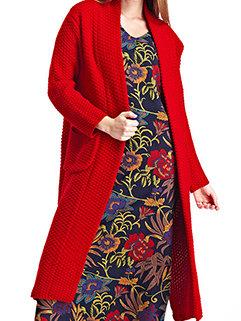 Euro Style Women Slim Long Trendy Vertical Pckets Knitting Sweater Cardigan
