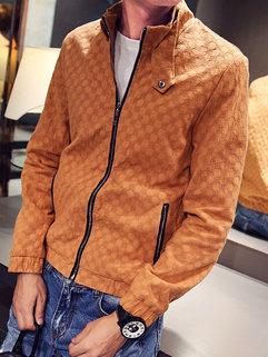 Solid Color Front Zip Stand Collar Mens Jacket Bomber Jacket