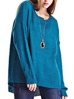 Hot Sale Women O Neck Plain High-low Hem Pullover Pretty Sweater