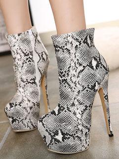 Stylish Women Snake Print Round-toe High Heel Zipper Platform Boot
