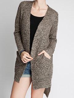 Pretty Women Long Sleeve Slim High-low Hem Vertical Pockets Cardigan Sweater