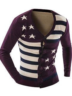 Newest Hot Sale Men Five-pointedStar Long Sleeve V Neck Cardigan Sweater