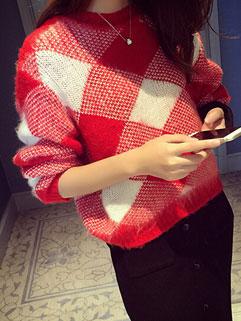 Newly Arrival Red Diamond Checkered Print Long Sleeve Korean Sweater