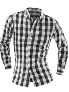 Hot Sale Men Turtle Neck Fall Cotton Slim Checkered Long Sleeve Shirt