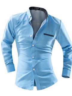 Wholesale Men Fall Cotton Slim Dot Printed Office Turtle Neck Shirt