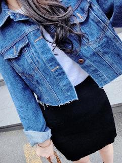 Fall Korean Punk Style Women Long Sleeve Turndown Neck Cropped Top Coat
