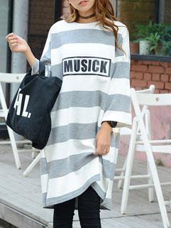 Korean Classic Design Long Sleeve O Neck Loose Print Hoodies