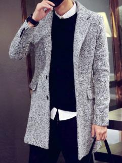 Fashion Men Snowflake Print Long Sleeve Fitted Korean Long Coat