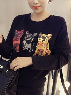 College Style Casual Solid Cute Animal Print Long Sleeve Hoodies
