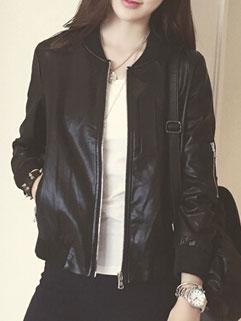 Fall Design High Quality Long Sleeve Stand Collar PU Women Zip Jackets