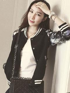 Korean Fashion Stand Collar Long Sleeve Flower Print Black Chic Jackets