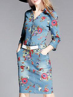 New Arrival Fall Women Long Sleeve V Neck Wrap Asymetrical Hem Denim Dresses