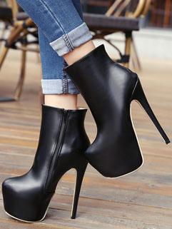 High-end PU Women Round-toe Zipper Solid Super High Heel Platform Boot