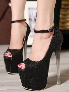 Gorgeous High Quality Peep-toe One Buckle Belt Solid Crystal Heel Platform Boot