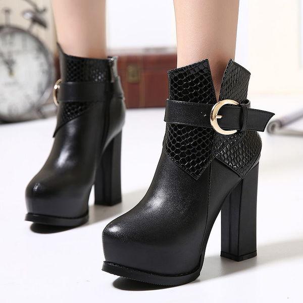 Stylish Black Round Toe Chunky Heel Platform Zipper Women Boot