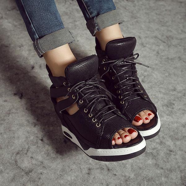 Peep-toe Wedge Sneaker