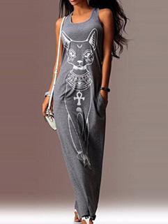 Outlet Fashion Women Cartoon Printing Sleeveless Loose Gray Maxi Dresses