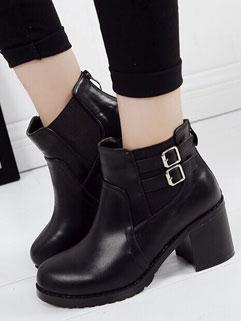 Solid Color Round-toe Retro Design Back Zipper Women Martin Boot