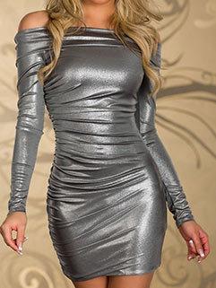 Outlet Hot Sale Women Slimming Blank Evening Long Sleeve Dress Club Wear