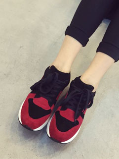 Korean Style Easy Match Hit Color Casual Sport Lace Up Women Platform